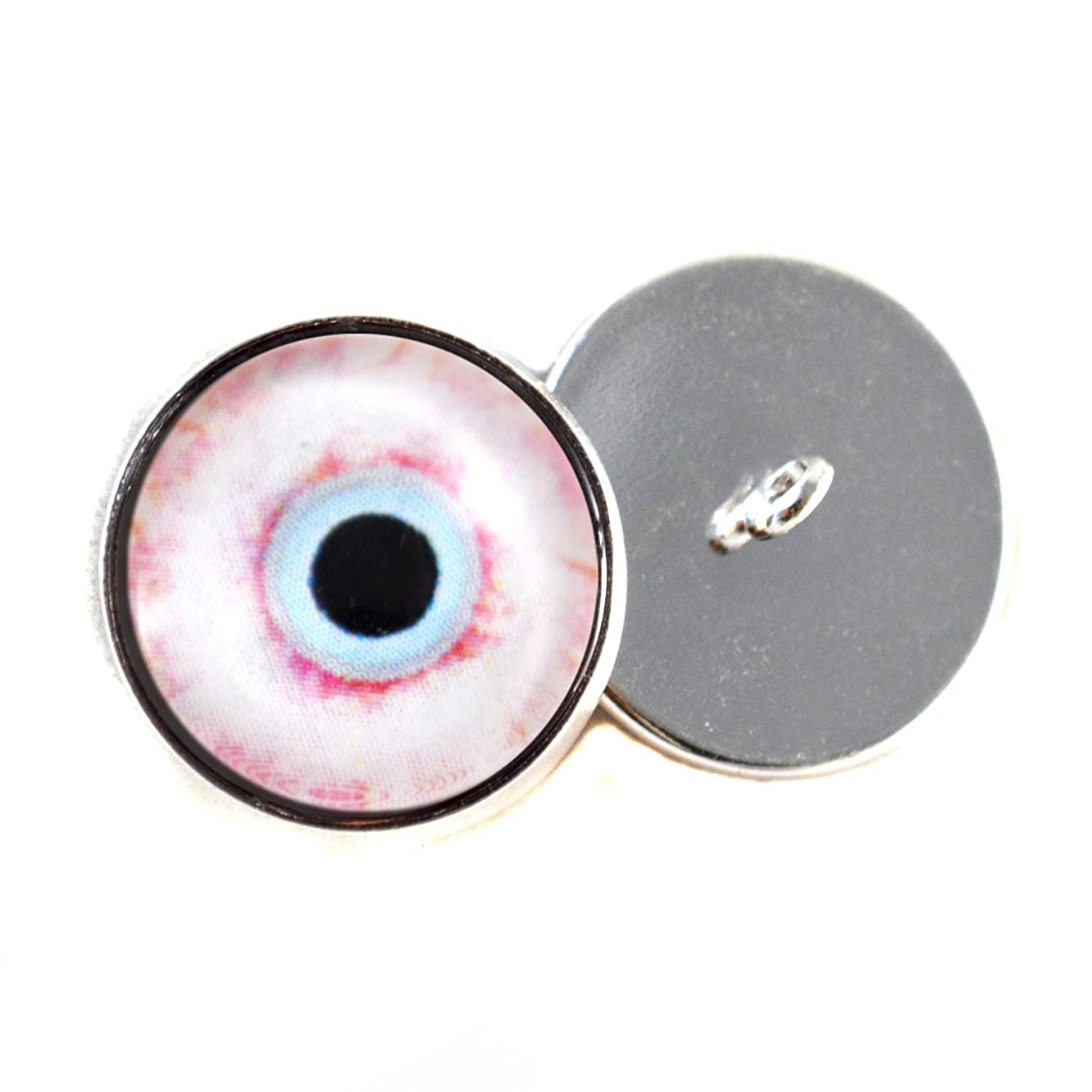 Glass Zombie Looped Back Eyes 16mm Eye Cabochons in Blue and White for Fantasy Art Doll Stuffed Animal Soft Sculptures or Jewelry Making Crafts Set of 2