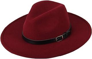 5f3198e343c Dantiya Women s Wide Brim Wool Fedora Panama Hat with Belt