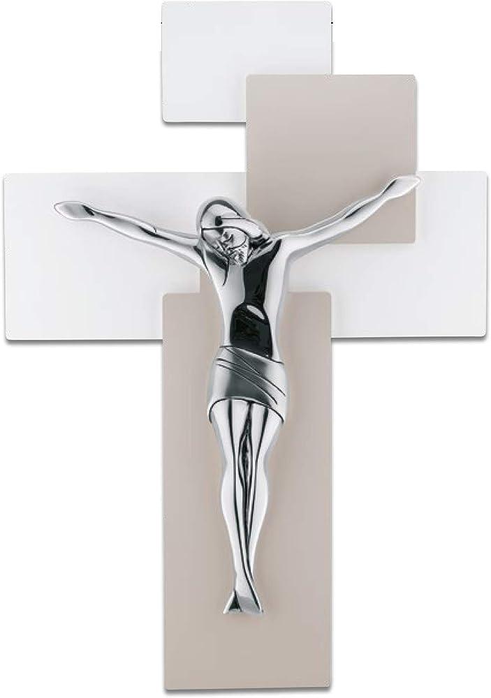 Crocifisso moderno croce da parete con un cristo realizzato in marmorino argentato lucido ME12103N