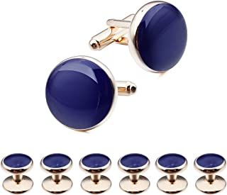 Mens Blue and Black Cufflinks and Studs Set for Tuxedo Dress Shirt - Wedding Business Party Accessories