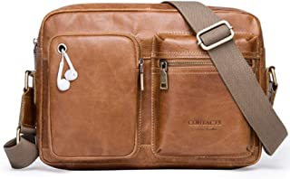 Haibeisi Fashion Unique Men's Messenger Bag Leather Casual Shoulder Bag (Color : Brown, Size : M)