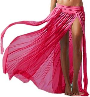 ERGEOB Damen Strandkleid Elastische Gazerock Strandrock Vier stück ohne Bikini