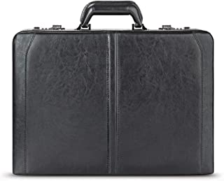 Solo Broadway Premium Leather 16 Inch Laptop Attaché, Hard-Sided with Combination Locks, Black (Black) - USL4714