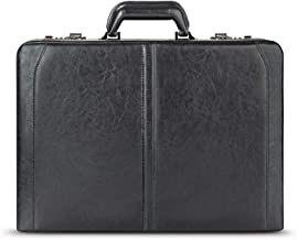 Solo New York Broadway Premium Leather Attaché Case, Fits up to 16 Inch Laptop, Hard-sided with Combination Locks, Black