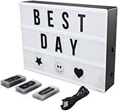 Cinema Light Box Super Perfect DIY LED Cinematic Light Up Box with Decorative 90 Letters Numbers Symbols for Festival/Birthday/Anniversary/Wedding/Mottoes [A4 Size, White]