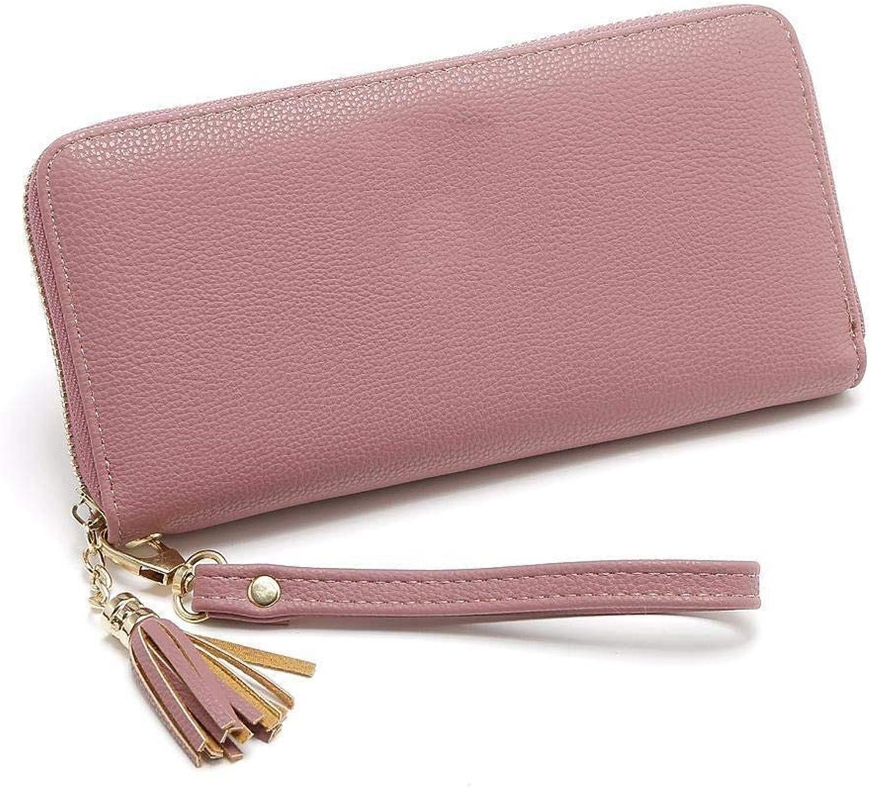 Girls Purse Women's Wallet Women's Large PU Wallet Multicolor Mobile Phone Bag Zipper Wallet (color   D)