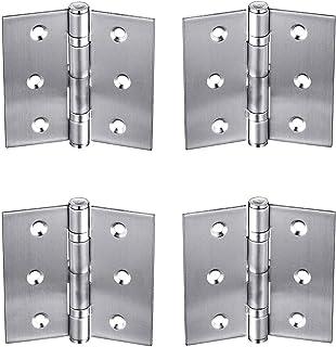 4 Bearings Hinge, 4 Pack Self-closing Door Hinges with Screws Stainless Steel 2.5 Inch Box Cabinet Furniture Hinges, Silver