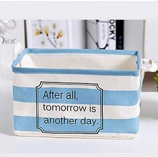 MJY Panier à linge, Salle de bains en tissu à rayures bleues Vêtements sales Sacs de rangement pour la lessive Panier Sac ...
