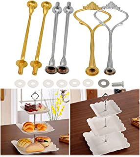 MomentDAY 3-Tier Square Cupcake Plate Stand,Cake Fruit Snack Food Dessert Tree Tower Rack Tray for Wedding Birthday Graduation Summer Tea Baby Shower Party (Silver)