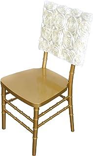 غطاء كراسي من الساتان - 40.64 سم | Rosette Chiavari | Ivory | قطعة واحدة