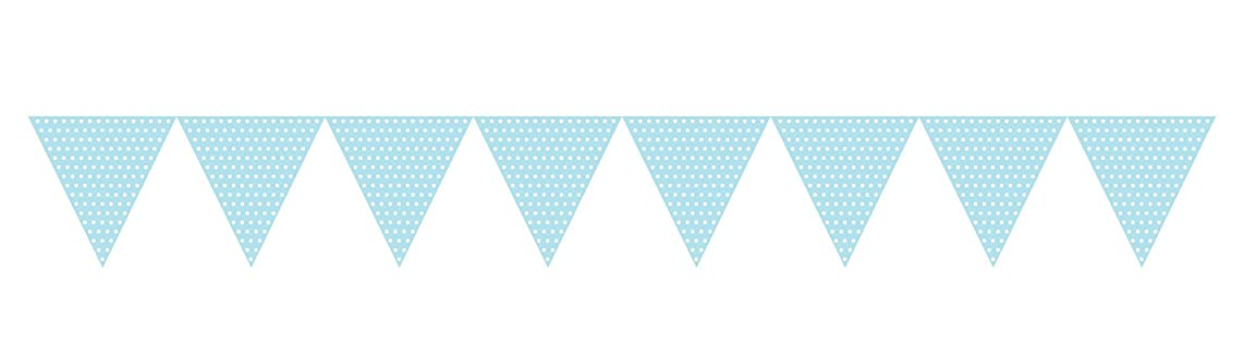 Creative Converting 293304 Paper Flag Banner Party Decor with Polka Dots, Pastel Blue