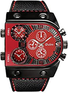 Andoer Men Three Time Zones Leather Band Quartz Watch Cool Big Dial Analog Wrist Watches