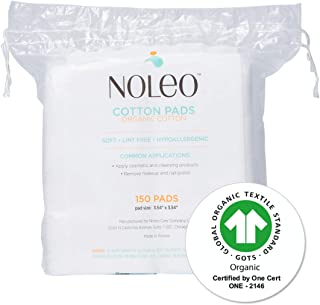 NOLEO Organic 100% Cotton 150 Count Large Baby Wipes Cotton Pads For Sensitive Skin Makeup Removal (1 Pack)