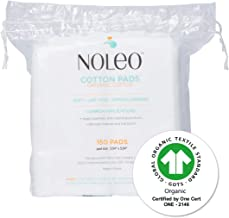 NOLEO Pure Organic Cotton Pads for Face (150 Count) - Lint Free Large Biodegradable Hypoallergenic Makeup Remover Pads for...