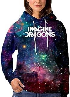 OPQNIAFH Ima-gine Dra-gon Womens Fashion Galaxy Hoodie Sweatshirts Sports Pullover Sweaters Cotton Croptop
