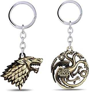 Metal Keychain Game of Thrones - House Stark Sigil - Metal Key Ring Pendant - Perfect Gift for Boy Girl Man Woman Friends