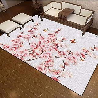 Tapis Chambre Tapis de Salon Style Moderne Impression 3D et Teinture Fleur de Prunier de Poudre de Rose Paillasson Intérie...