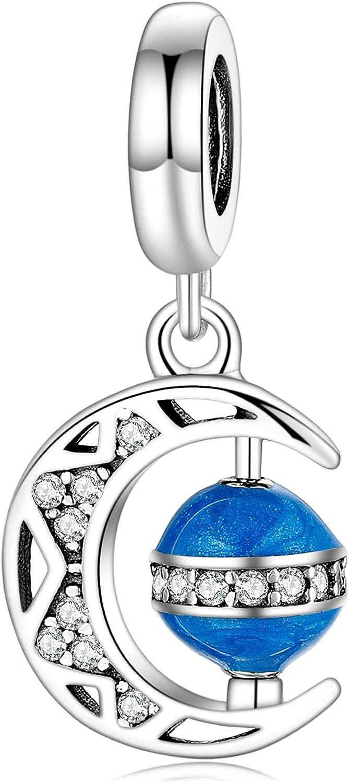 AIEGNOS Blue Earth Astronaut Star Moon Max 60% OFF 925 St Charm for Bracelet OFFicial