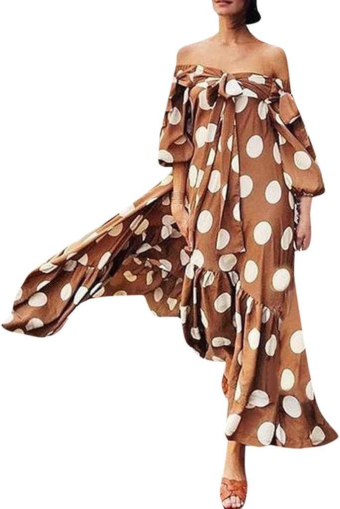 iQKA Women Off Shoulder Polka Dot Printed Maxi Dress Plus Size Summer Ruffle Bow Long Dress