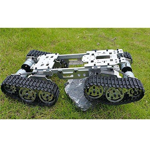 WENHSIN CNC Dämpfung Balance Tank Chassis Ferngesteuert Tank Crawler Truck Roboter Chassis Arduino Car 15,5 x 8 x 3,3 Zoll Leichtmetallgehäuse mit Kunststoffschienen + 4 Motoren