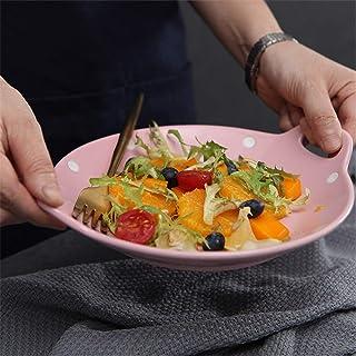 Ceramic Bakeware 2 Piece Set Binaural Round Dessert Plate Polka Dot Ceramic Baking Dish for Home Baking Dish Lasagna Pans ...
