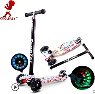 COOLBABY Kids Scooter 3 Wheel 4 Wheel Mini Adjustable Kick Scooter with LED Light Up Wheels(Style:WT)