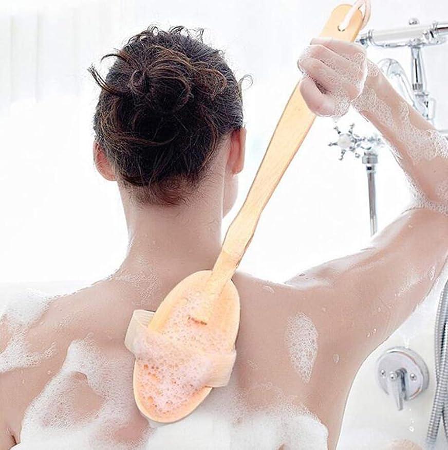 味わう貞側溝木製の長いハンドルバスブラシ豚毛ブラシ乾燥肌ボディブラシシャワードライクリーニングブラシ剥離