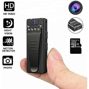 Mini cámara -microcamaras espias Ocultas Tarjeta de 32GB 5 Horas ...