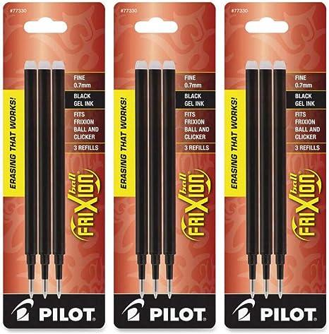 3-Pack PILOT FriXion Gel Ink Refills for Erasable Pens - 1 77330 Black Ink Fine Point
