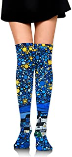 MKLOS 通気性 圧縮ソックス Breathable Cheerleader Over The Knee Plus Size Long Cotton Stretchy Thigh Stockings Gogh Starry Night High Tube Socks Women Girl