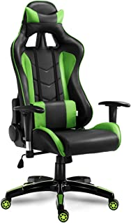 Giantex Gaming Chair Racing Style High Back PU Leather Office Chair with Headrest and Lumbar Support Ergonomic Executive Home Office Computer Desk Task Swivel Chair (Green)
