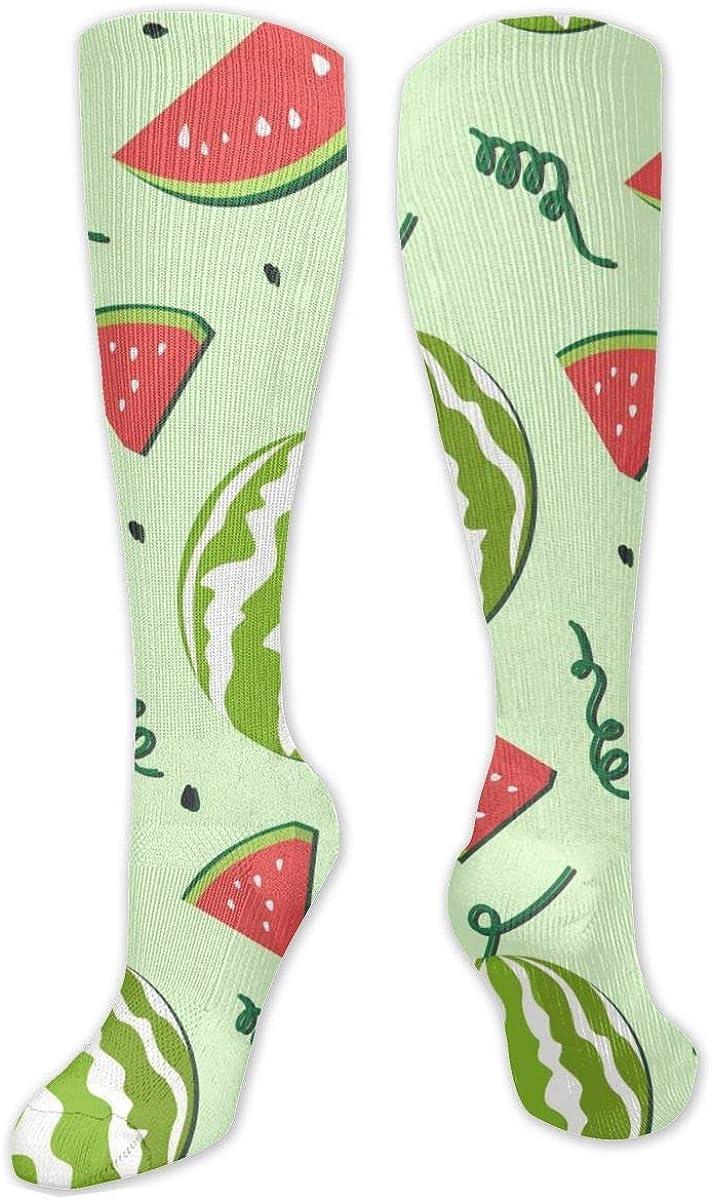 Light Green Watermelon Cut Pattern Knee High Socks Leg Warmer Dresses Long Boot Stockings For Womens Cosplay Daily Wear