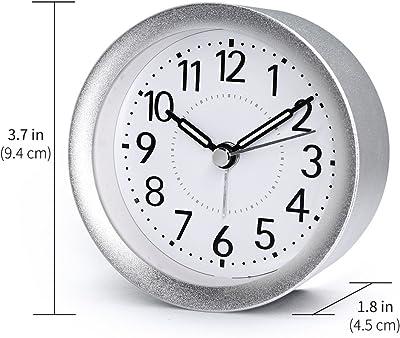 TXL 目覚まし時計 置き時計 アラーム スヌーズ バックライト かわいい プレゼント 子ども部屋 寝室 プレゼント 金属製 丸型 シルバー