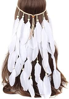 SEADEAR Indian Headdress Women Bohemia White Feather Tassel Headband Wedding Headbands for Bride Party Headwear Hair Styling Accessories