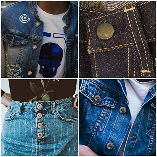 Trimming Shop Botón para pantalones vaqueros latón, 17 mm, resistente, con pasadores traseros, remache para reparación de ropa, denims, chaquetas, faldas, Gunmetal con Dimond Blanco, 10piezas