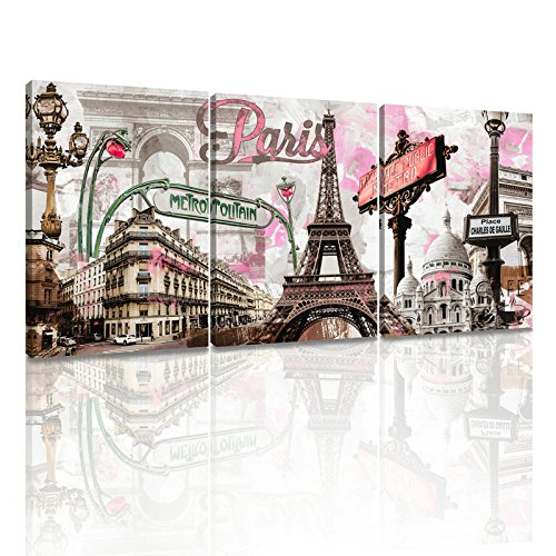 DongLin Art-New York Painting Pink Paris Eiffel Tower Paintings Wall Art Decor Oil Paintings for Living Room Decor Framed and Stretched (30 x 40 x 3pcs, Pink Paris Eiffel Tower)