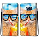 Nadoli Coloré Portefeuille Coque pour Samsung Galaxy S7,Cool Drôle Animal Fleur Papillon Séries...