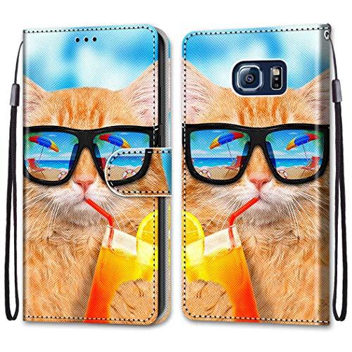 Nadoli Coloré Portefeuille Coque pour Samsung Galaxy S7,Cool Drôle Animal Fleur Papillon Séries Créatif Faux Cuir Magnétique Flip Housse Etui avec Fentes pour Cartes et Dragonne