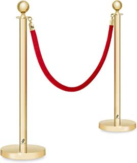 Crowd Control Stanchions by Jubilee - Set of 2 Polished Gold Ball Posts and 6-1/2 Foot Velvet Rope