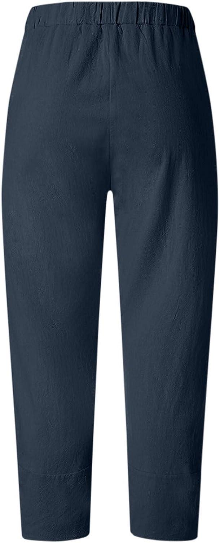 Shengteng Women's High Waist Casual Pants Cotton Linen Summer Long Straight Loose Pants for Work Boho Mujer Pantalones
