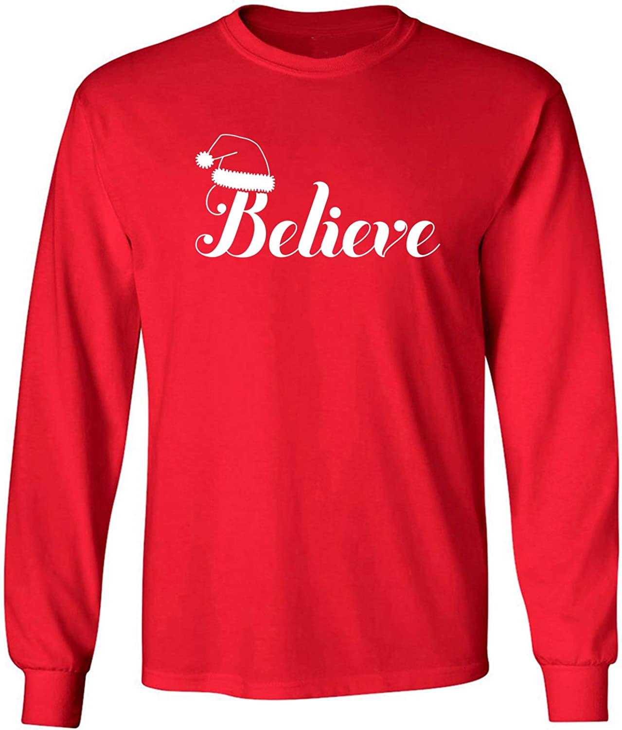 Believe Adult Long Sleeve T-Shirt in Red - XXXXX-Large