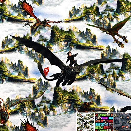 MAGAM-Stoffe Drachenzähmen Drachen Jersey Kinder Stoff Oeko-Tex Meterware 50cm (Drachenreiter Wolken)