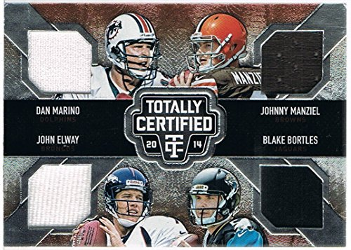 2014 Totally Certified Stitches in Time Quads Jersey #ST4QB2 Blake Bortles/Dan Marino/John Elway/Johnny Manziel #d 04/10 RC Rookie