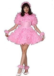 Sissy French Maid Lockable Organza Puffy A Line Dress Uniform Crossdress