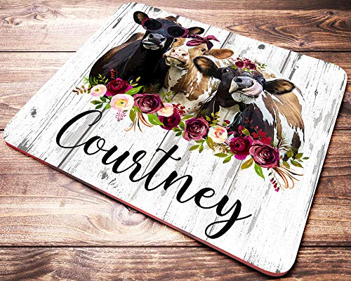 Personalized Cow Mouse Pad Customized Funny Heifer Computer Mousepad Cow Gifts Desk Accessories