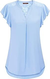 Women's Notch V Neck Short Sleeve Chiffon Shirts Casual Lace Blouse Top
