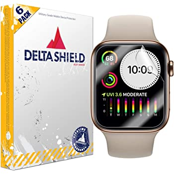 DeltaShield Screen Protector for Apple Watch Series 5 (40mm) (6-Pack) BodyArmor Anti-Bubble Military-Grade Clear TPU Film