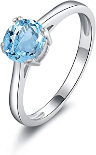Gnzoe Jewelry-925 Sterling Silver Women Anniversary Ring Solitaire Blue Created-Topaz December Birthstone