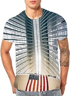 ZEFOTIM Men's 3D Flood Printed Short-Sleeved T-Shirt Top Blouse