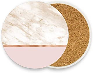Caramel Marble On Rose Gold Blush Coaster Absorbent Coaster with Cork Base Pack Of 1,Coaster for Drinks Coffee Mug Glass Cup Place Mats